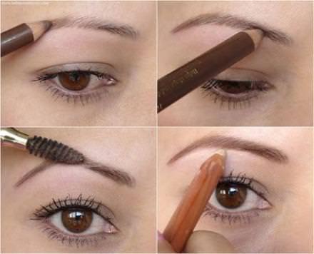 Как правильно красить брови черным карандашом пошагово