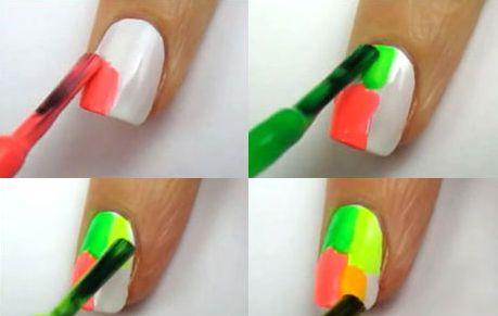 Как сделать водный маникюр с неоновыми брызгами