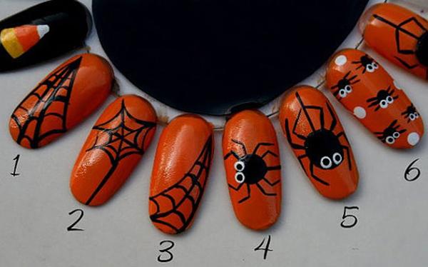 Маникюр с паутиной на Хэллоуин