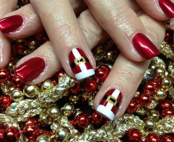 Маникюр Санта Клаус на новый год