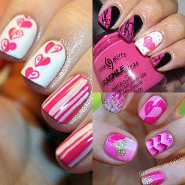 Маникюр в розовых тонах ко Дню Святого Валентина