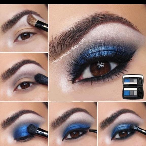 Синий макияж карих глаз