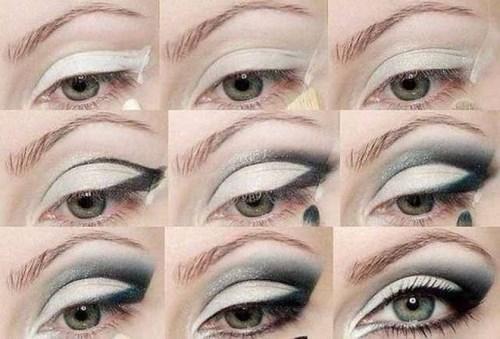 Черно-серый макияж для серых глаз