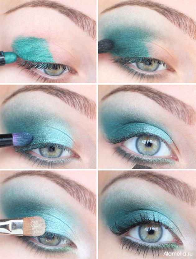 Аквамариновый макияж для серых глаз