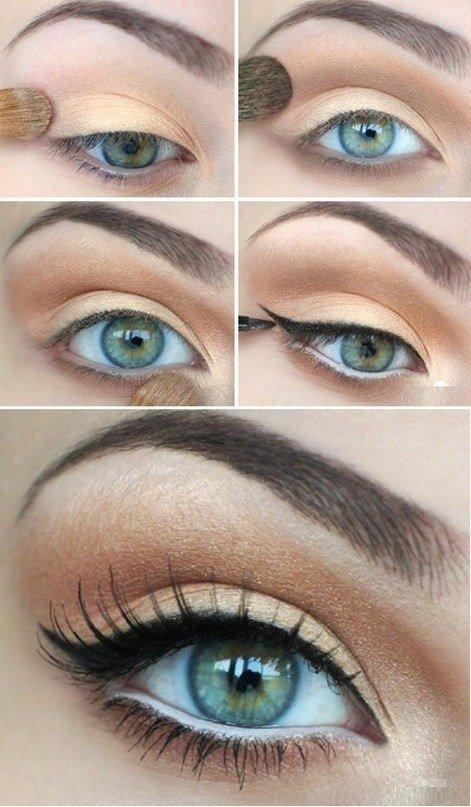 Бежевый макияж для серых глаз