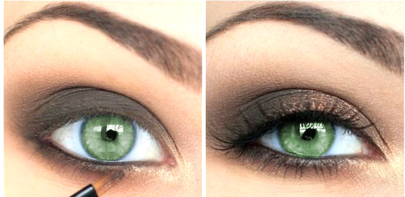 Золотисто-коричневый макияж зеленых глаз