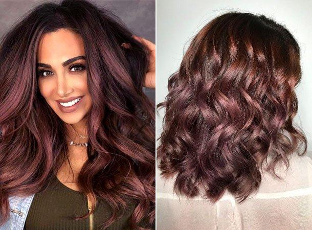 Шоколадно-лиловый цвет волос 2018