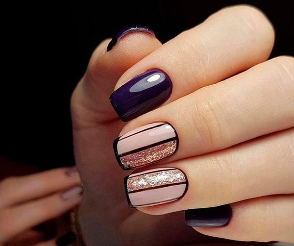 Красивый геометрический дизайн ногтей