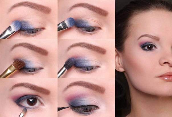 Макияж для маленьких глаз с синими тенями