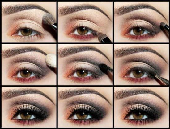 Макияж для маленьких глаз с коричневыми тенями