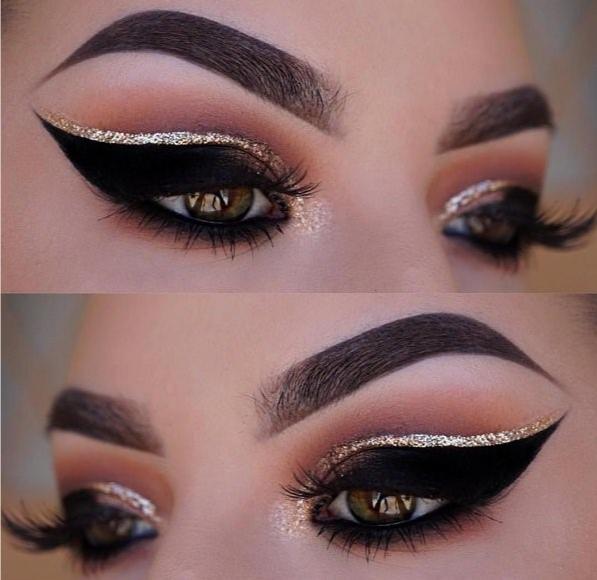 Красивый макияж с блестящими стрелками