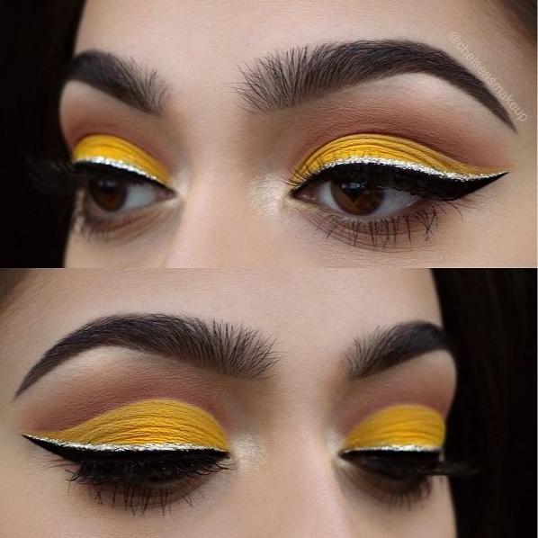Желтый макияж глаз со стрелками