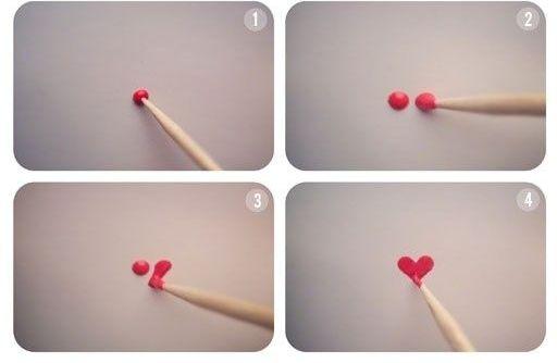 Как нарисовать сердечки на ногтях