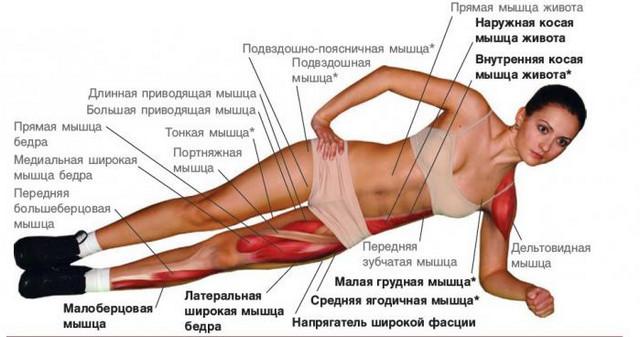 Упражнение для похудения Боковая планка