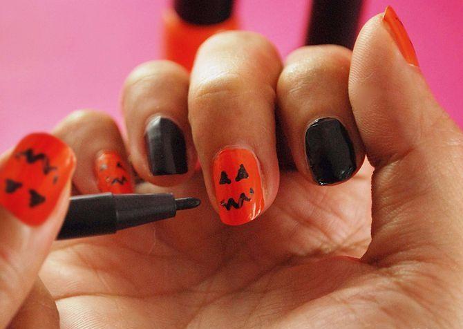 Маникюр на Хэллоуин пошагово