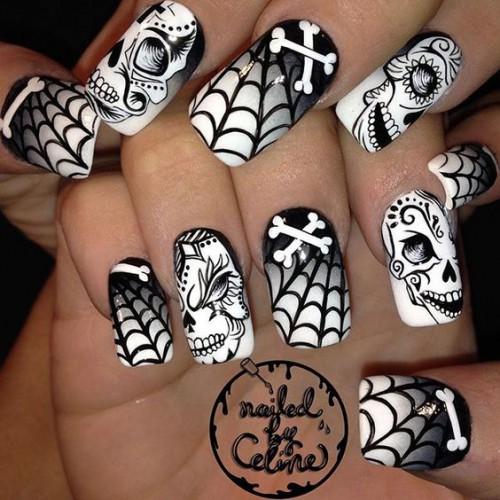 Черно-белый маникюр на Хэллоуин